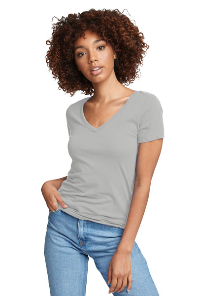 Next Level N1540 Womens Ideal Jersey Short Sleeve V-Neck T-Shirt Silver Grey Front