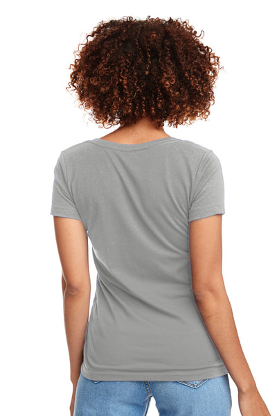 Next Level N1540 Womens Ideal Jersey Short Sleeve V-Neck T-Shirt Silver Grey Back