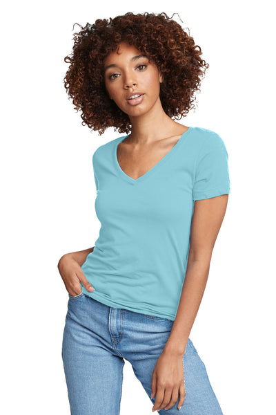 Next Level N1540 Womens Ideal Jersey Short Sleeve V-Neck T-Shirt Tahiti Blue Front