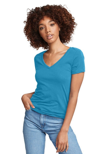 Next Level N1540 Womens Ideal Jersey Short Sleeve V-Neck T-Shirt Turquoise Blue Front