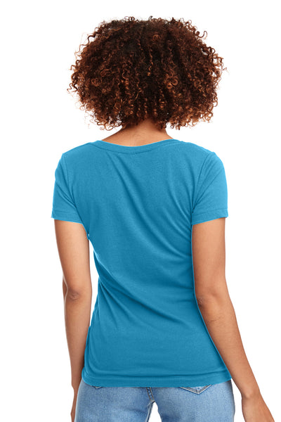 Next Level N1540 Womens Ideal Jersey Short Sleeve V-Neck T-Shirt Turquoise Blue Back