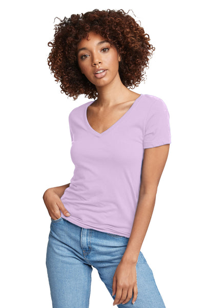 Next Level N1540 Womens Ideal Jersey Short Sleeve V-Neck T-Shirt Lilac Pink Front