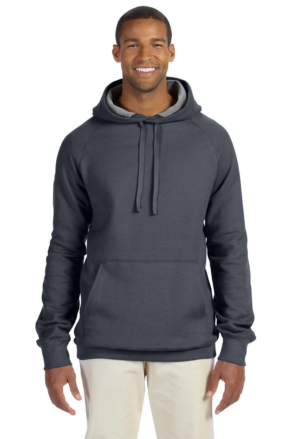 Hanes N270 Mens Nano Fleece Hooded Sweatshirt Hoodie Heather Charcoal Grey Front