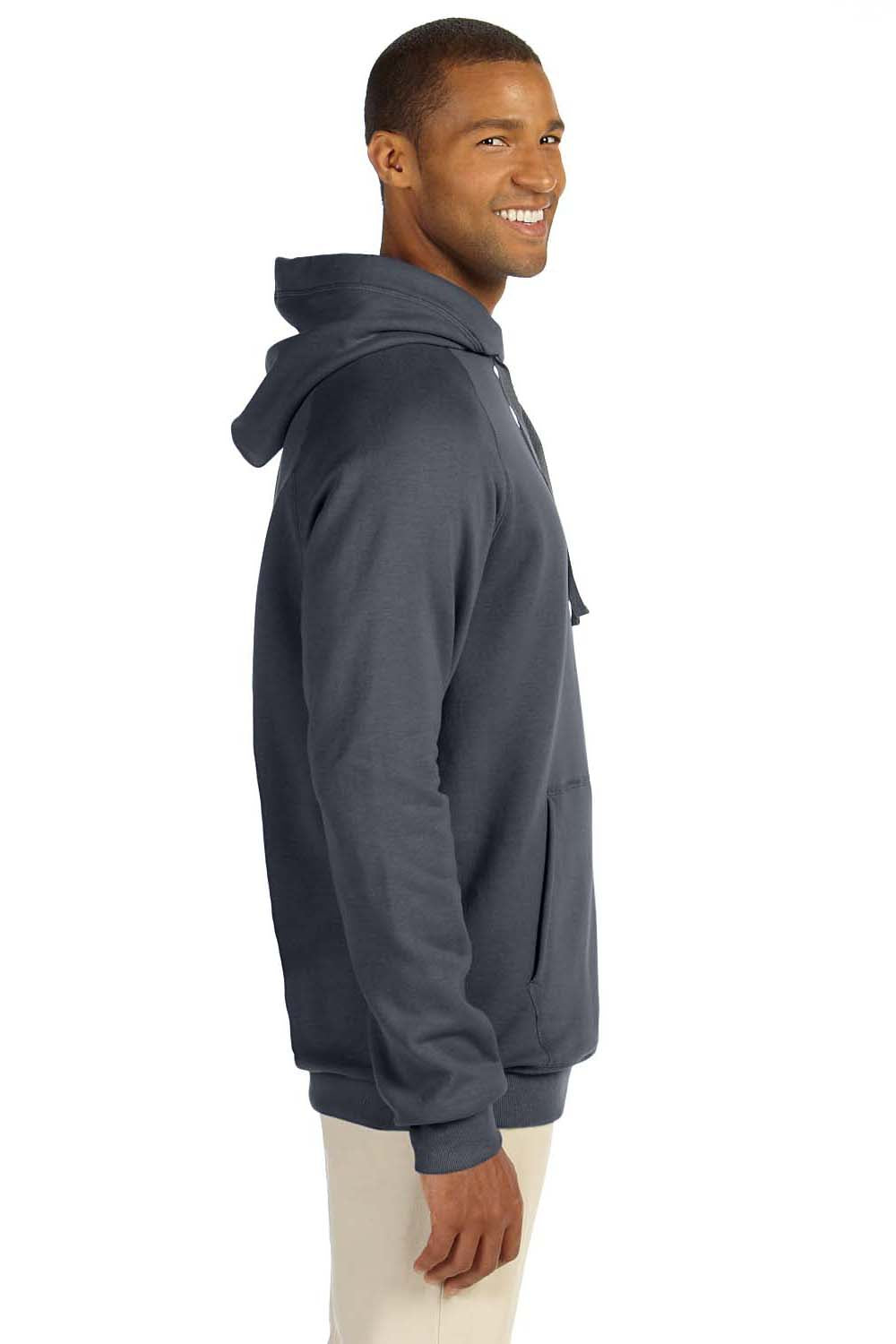 Hanes N270 Mens Nano Fleece Hooded Sweatshirt Hoodie Heather Charcoal Grey Side