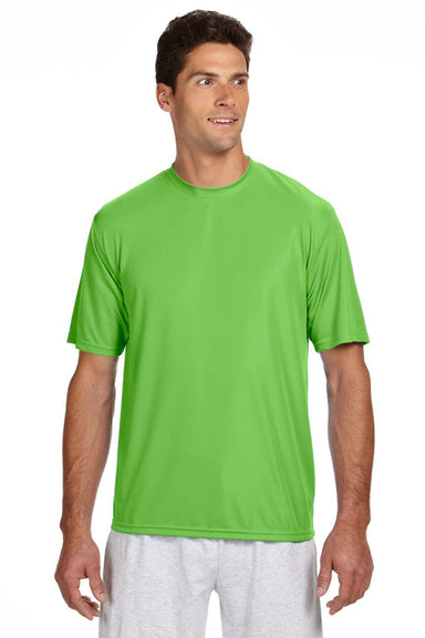 A4 N3142 Mens Cooling Performance Moisture Wicking Short Sleeve Crewneck T-Shirt Lime Green Front