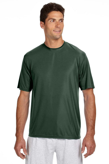 A4 N3142 Mens Cooling Performance Moisture Wicking Short Sleeve Crewneck T-Shirt Forest Green Front