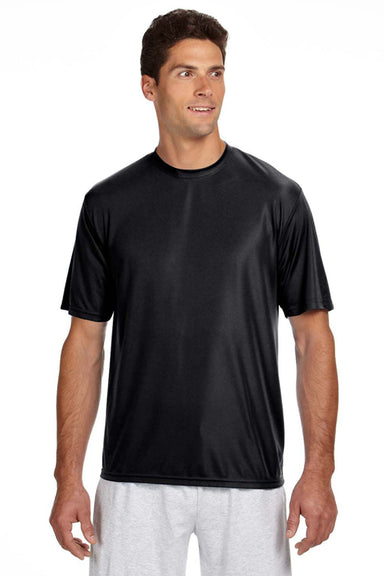 A4 N3142 Mens Cooling Performance Moisture Wicking Short Sleeve Crewneck T-Shirt Black Front