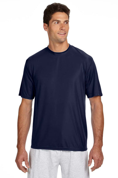 A4 N3142 Mens Cooling Performance Moisture Wicking Short Sleeve Crewneck T-Shirt Navy Blue Front