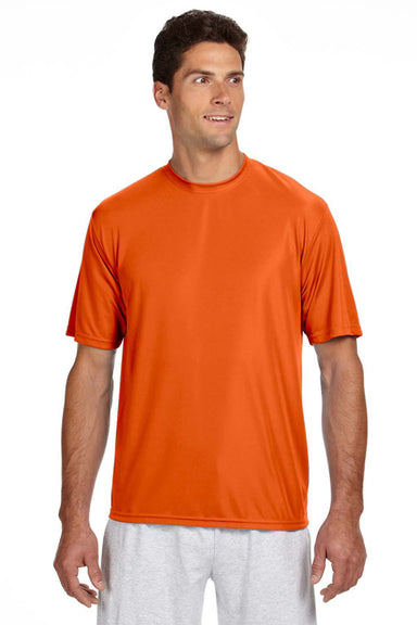 A4 N3142 Mens Cooling Performance Moisture Wicking Short Sleeve Crewneck T-Shirt Orange Front