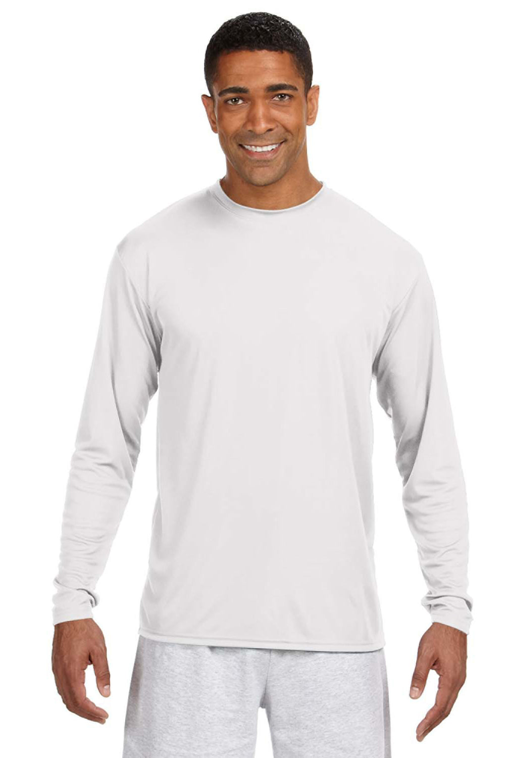 A4 N3165 Mens Cooling Performance Moisture Wicking Long Sleeve Crewneck T-Shirt White Front