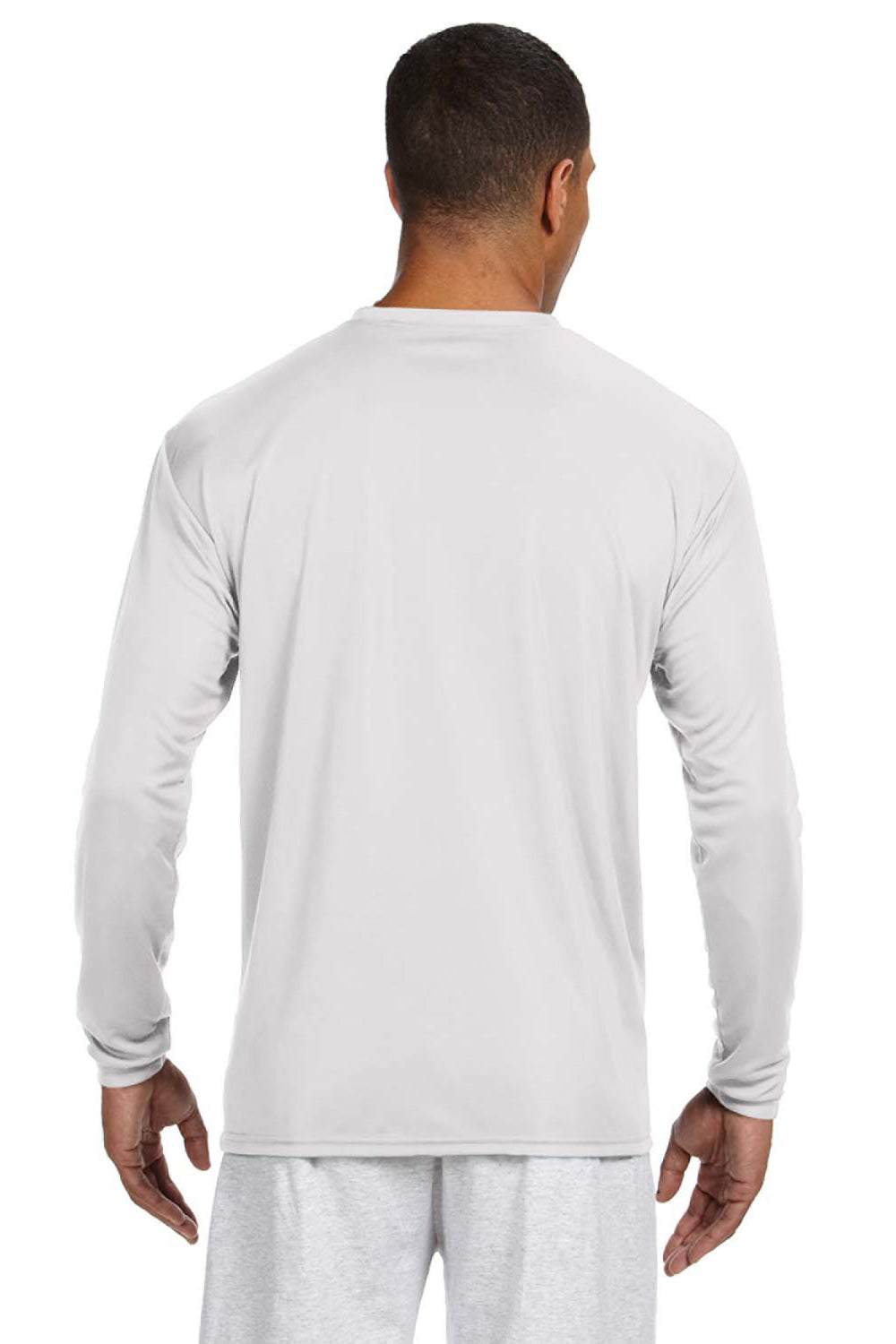 A4 N3165 Mens Cooling Performance Moisture Wicking Long Sleeve Crewneck T-Shirt White Back