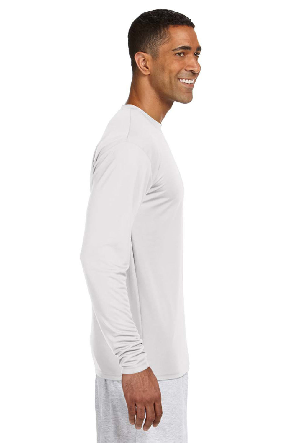 A4 N3165 Mens Cooling Performance Moisture Wicking Long Sleeve Crewneck T-Shirt White Side