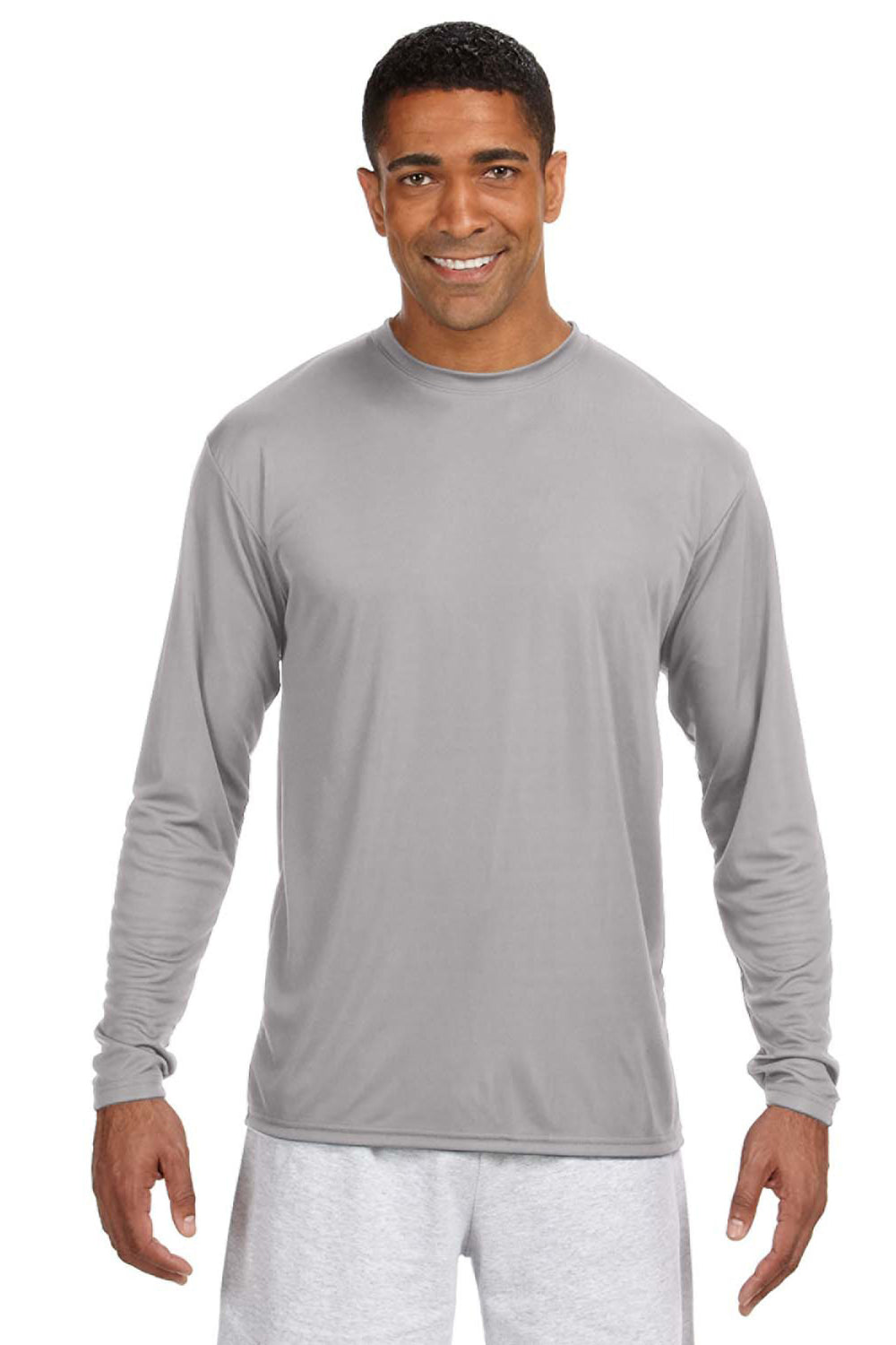 A4 N3165 Mens Cooling Performance Moisture Wicking Long Sleeve Crewneck T-Shirt Silver Grey Front