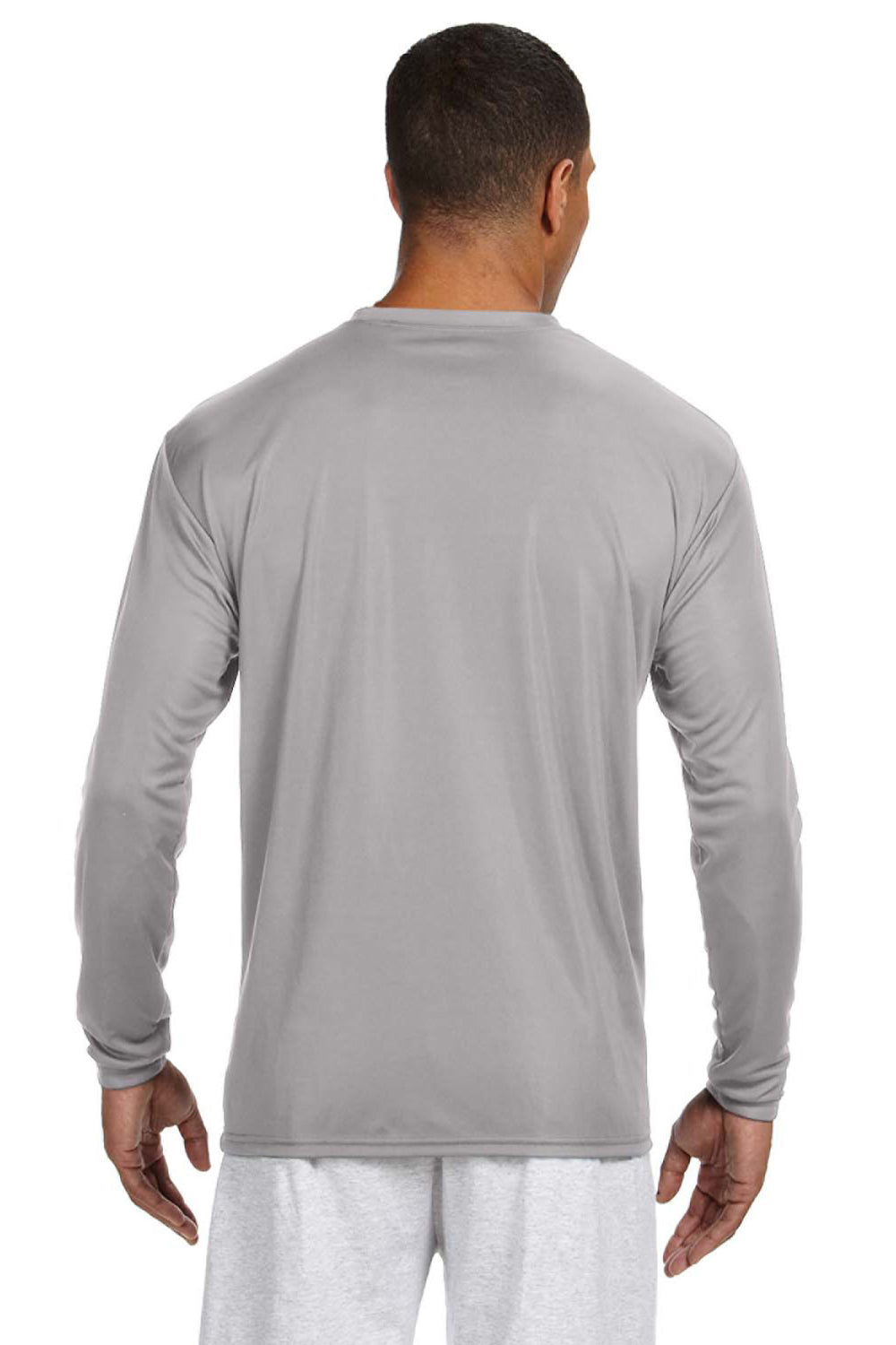 A4 N3165 Mens Cooling Performance Moisture Wicking Long Sleeve Crewneck T-Shirt Silver Grey Back