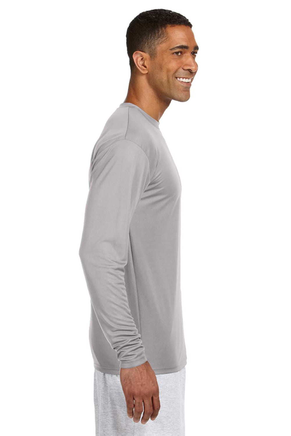 A4 N3165 Mens Cooling Performance Moisture Wicking Long Sleeve Crewneck T-Shirt Silver Grey Side