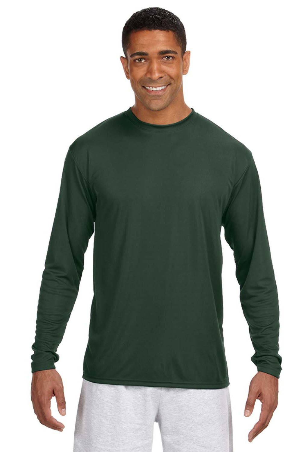 A4 N3165 Mens Cooling Performance Moisture Wicking Long Sleeve Crewneck T-Shirt Forest Green Front