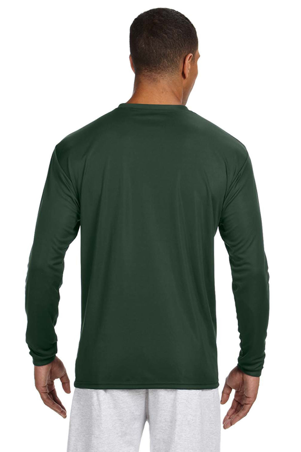 A4 N3165 Mens Cooling Performance Moisture Wicking Long Sleeve Crewneck T-Shirt Forest Green Back