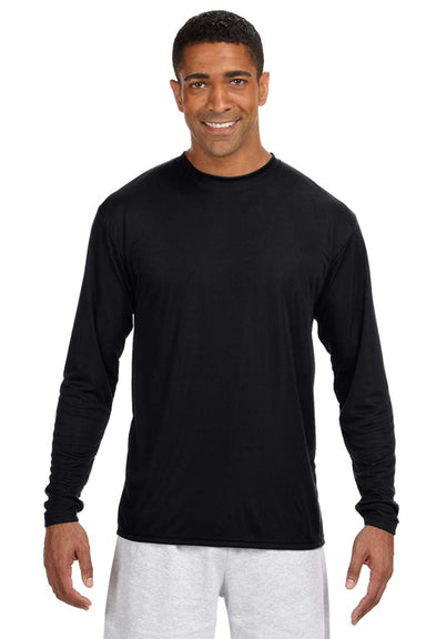 A4 N3165 Mens Cooling Performance Moisture Wicking Long Sleeve Crewneck T-Shirt Black Front