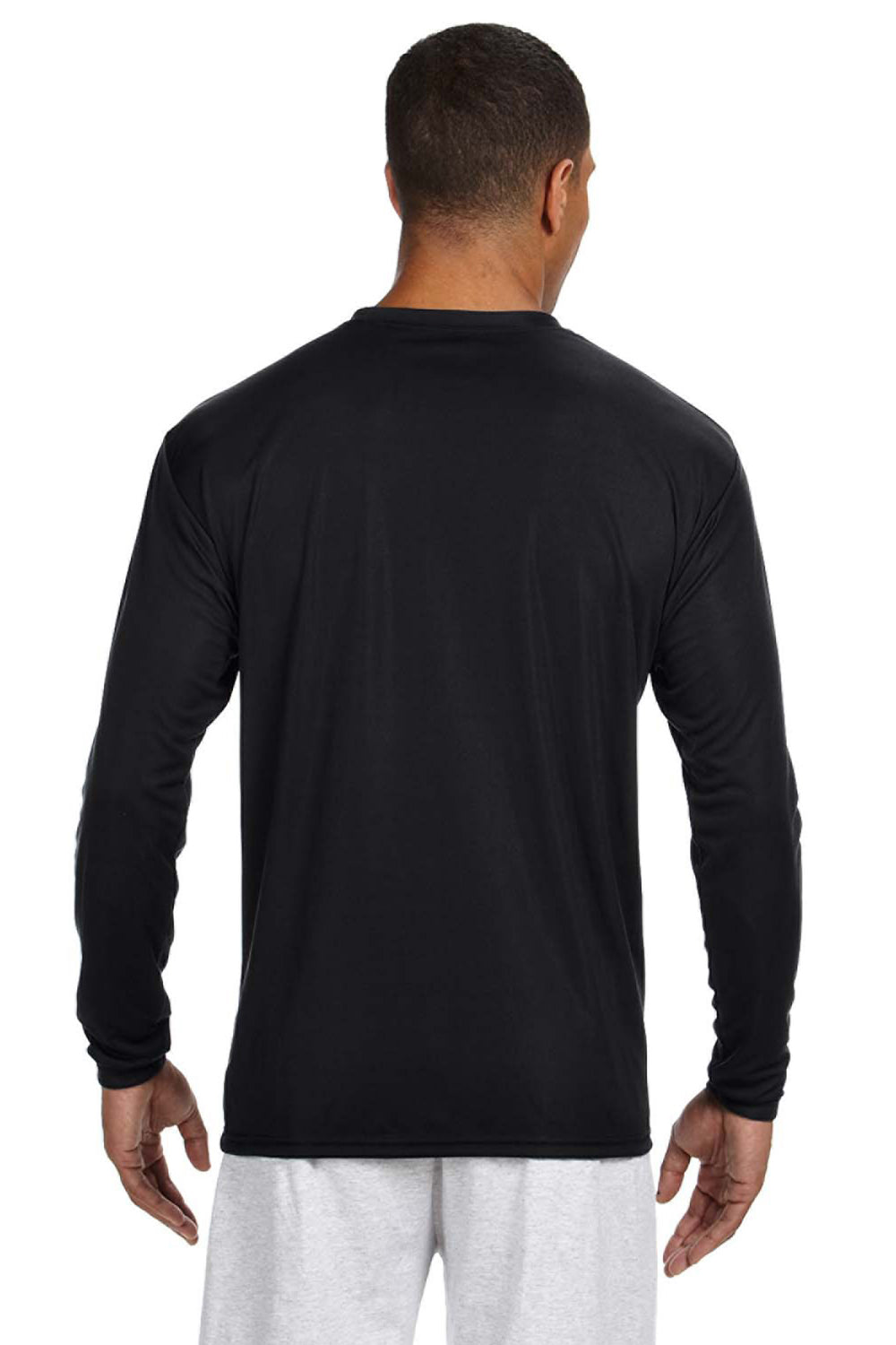 A4 N3165 Mens Cooling Performance Moisture Wicking Long Sleeve Crewneck T-Shirt Black Back
