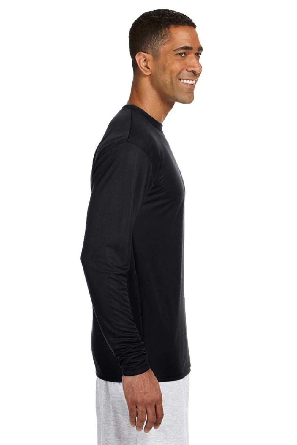 A4 N3165 Mens Cooling Performance Moisture Wicking Long Sleeve Crewneck T-Shirt Black Side
