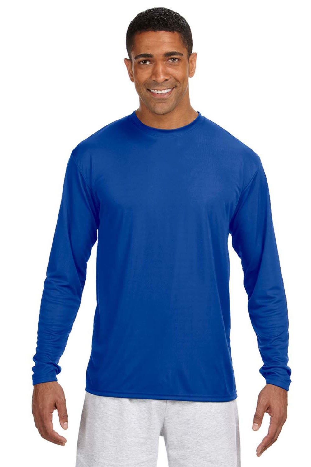 A4 N3165 Mens Cooling Performance Moisture Wicking Long Sleeve Crewneck T-Shirt Royal Blue Front