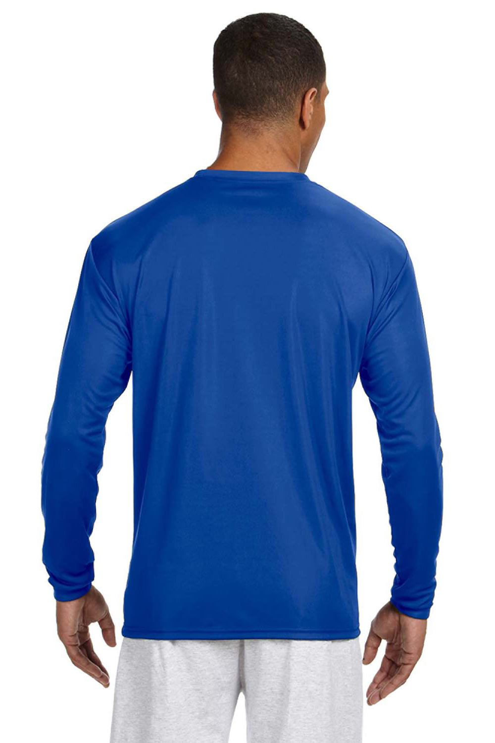 A4 N3165 Mens Cooling Performance Moisture Wicking Long Sleeve Crewneck T-Shirt Royal Blue Back
