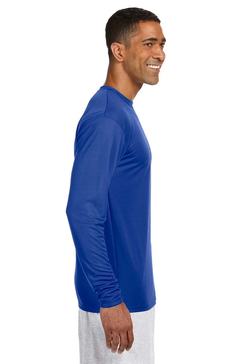 A4 N3165 Mens Cooling Performance Moisture Wicking Long Sleeve Crewneck T-Shirt Royal Blue Side