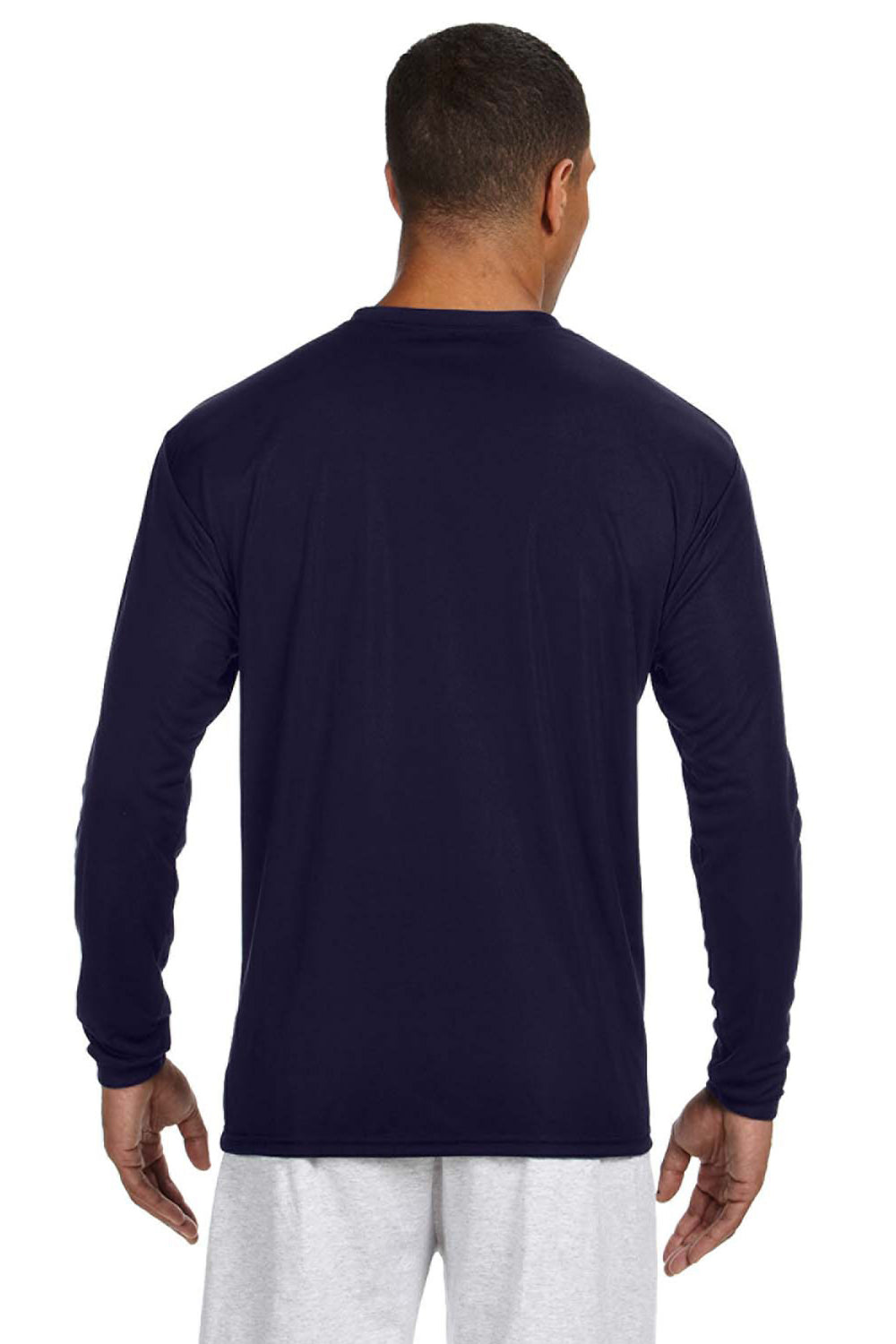 A4 N3165 Mens Cooling Performance Moisture Wicking Long Sleeve Crewneck T-Shirt Navy Blue Back