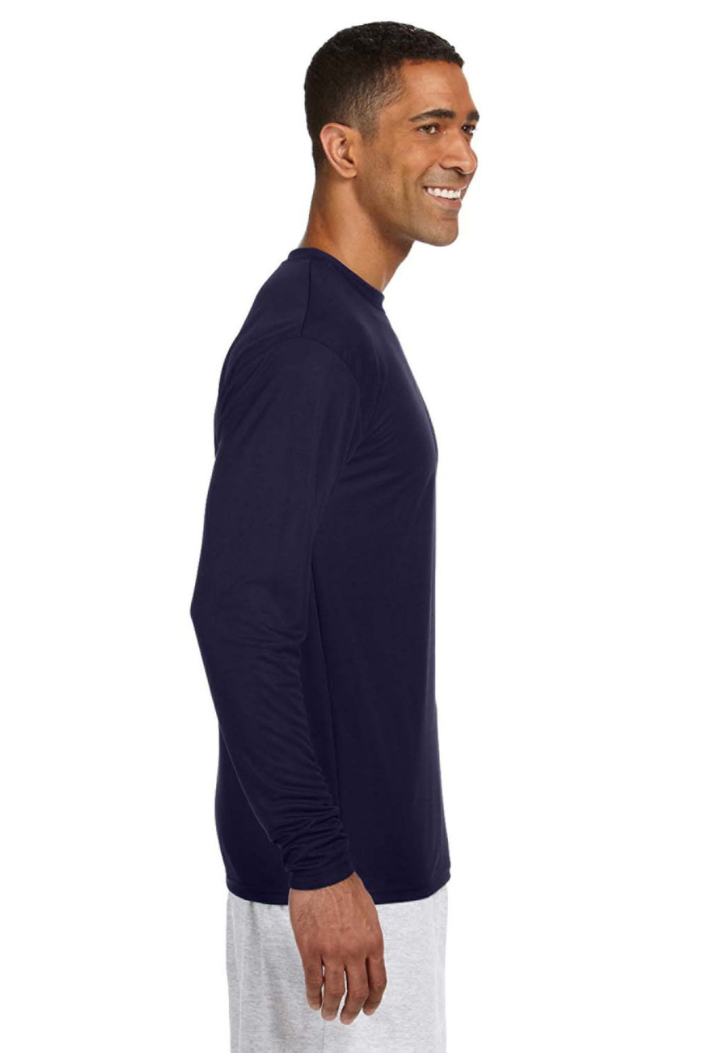 A4 N3165 Mens Cooling Performance Moisture Wicking Long Sleeve Crewneck T-Shirt Navy Blue Side