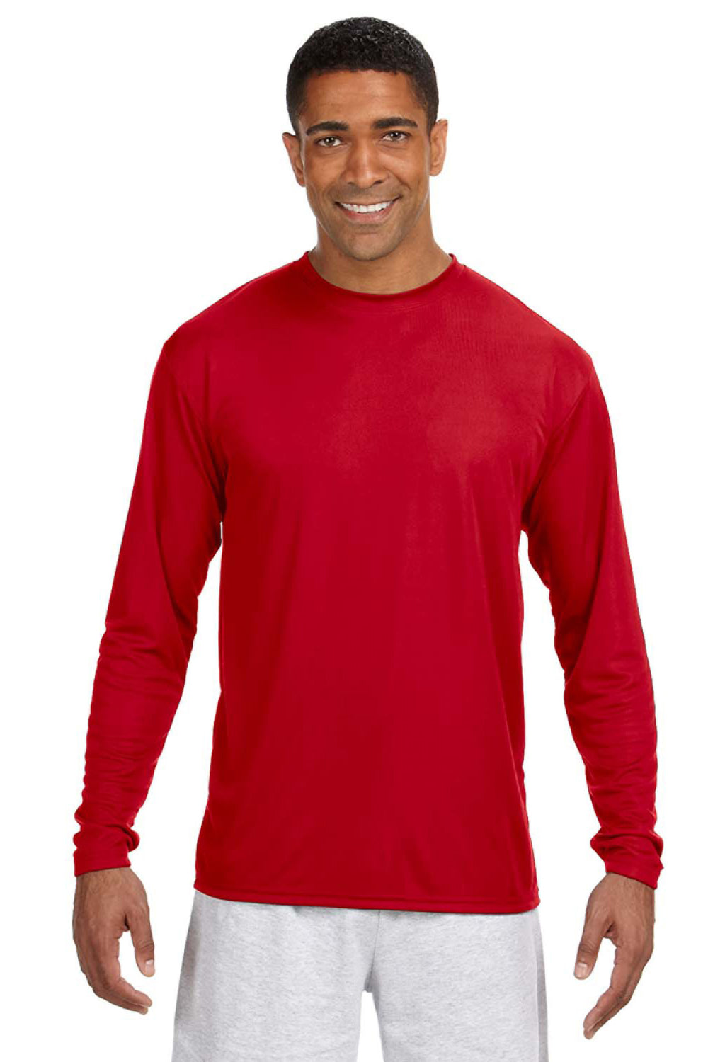 A4 N3165 Mens Cooling Performance Moisture Wicking Long Sleeve Crewneck T-Shirt Red Front