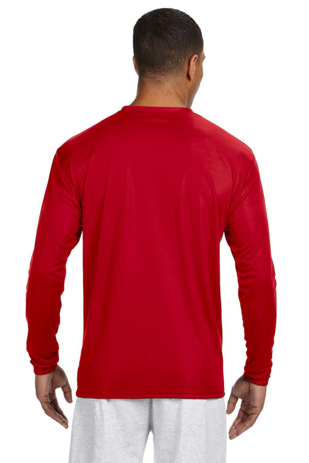A4 N3165 Mens Cooling Performance Moisture Wicking Long Sleeve Crewneck T-Shirt Red Back