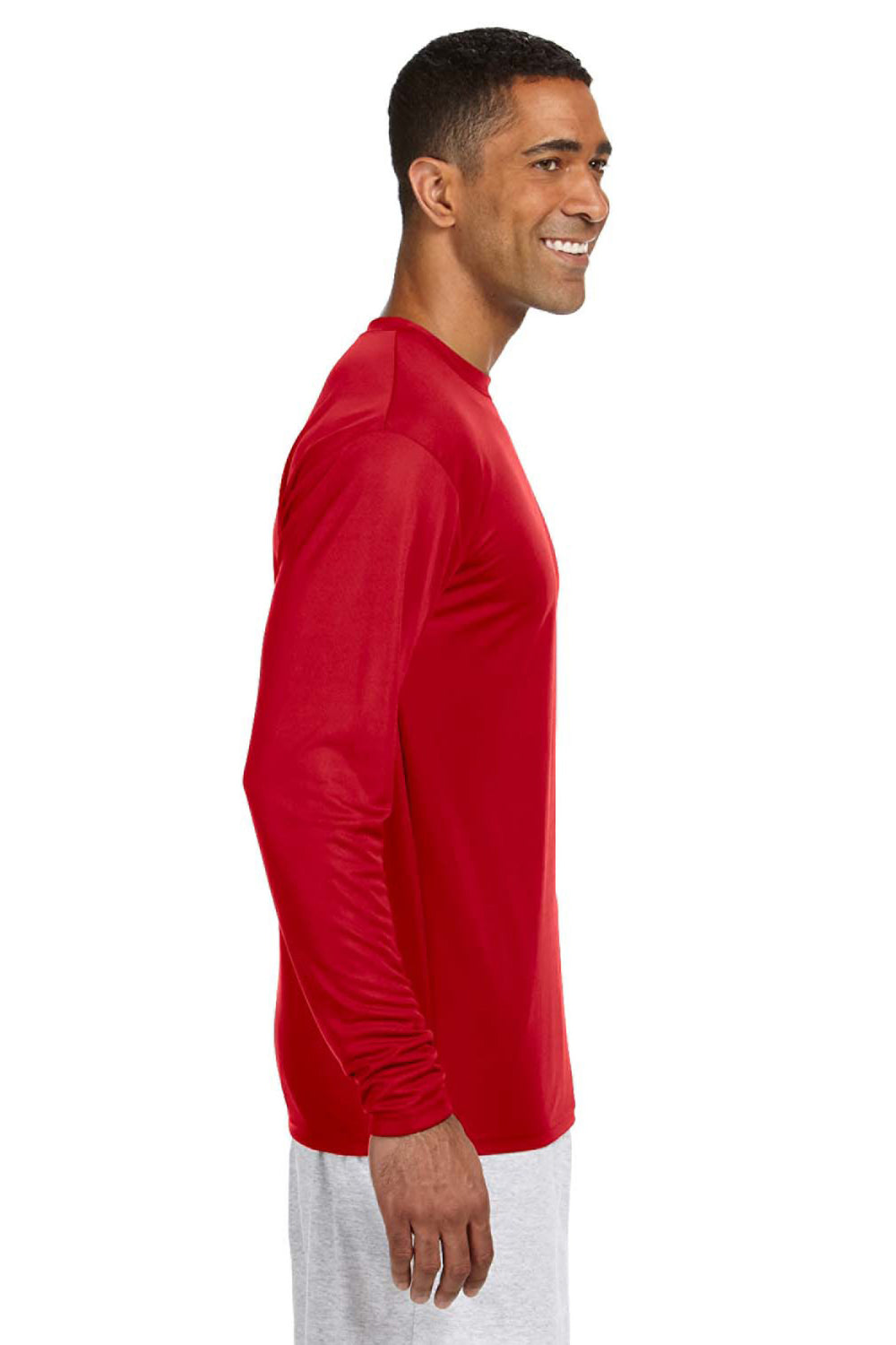 A4 N3165 Mens Cooling Performance Moisture Wicking Long Sleeve Crewneck T-Shirt Red Side