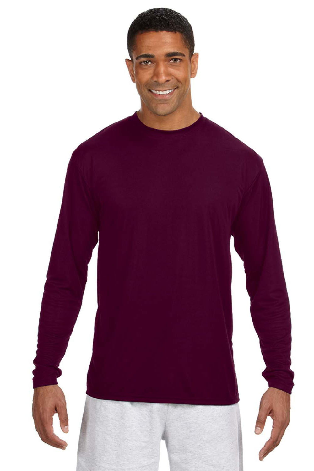 A4 N3165 Mens Cooling Performance Moisture Wicking Long Sleeve Crewneck T-Shirt Maroon Front