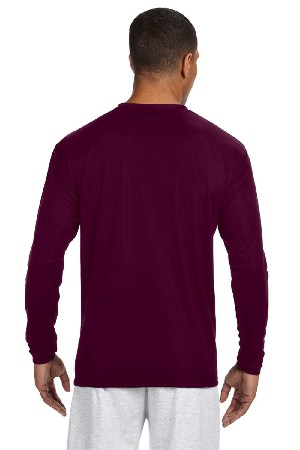 A4 N3165 Mens Cooling Performance Moisture Wicking Long Sleeve Crewneck T-Shirt Maroon Back