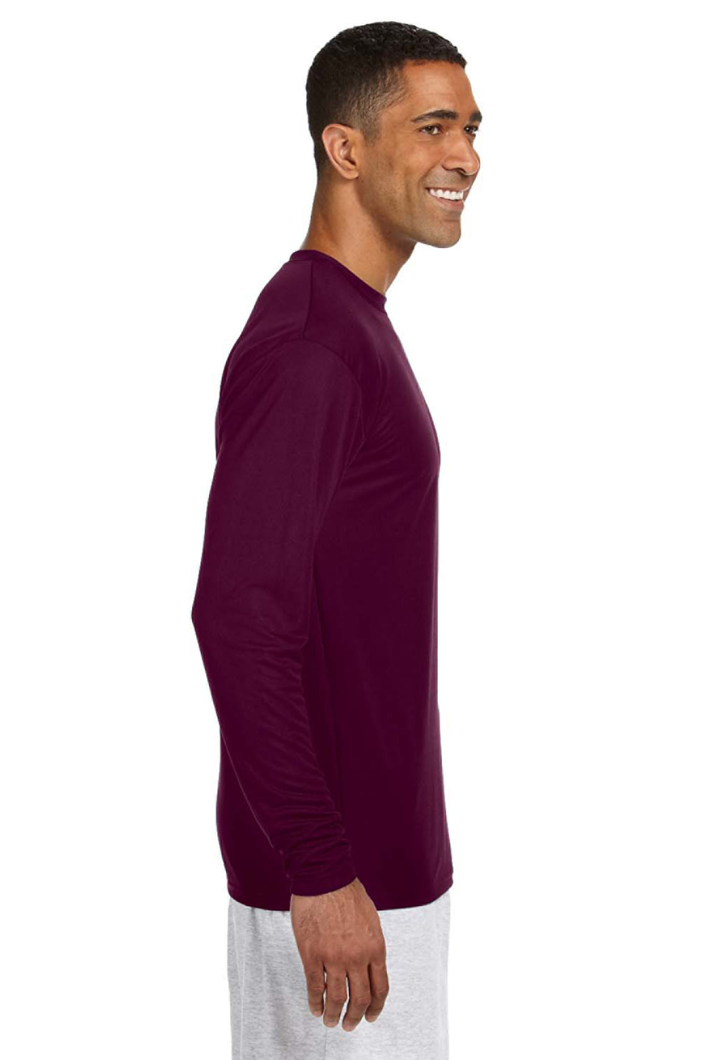 A4 N3165 Mens Cooling Performance Moisture Wicking Long Sleeve Crewneck T-Shirt Maroon Side