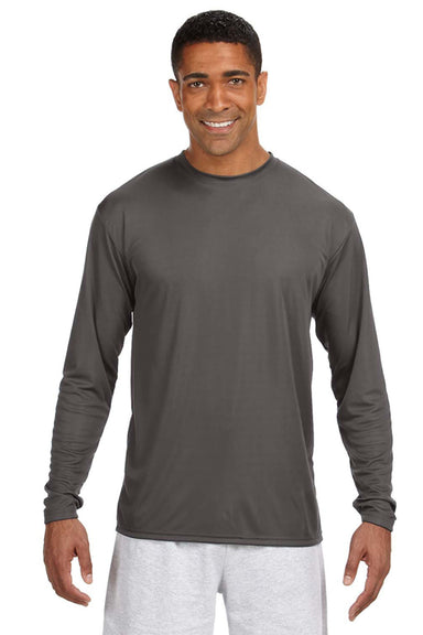 A4 N3165 Mens Cooling Performance Moisture Wicking Long Sleeve Crewneck T-Shirt Graphite Grey Front