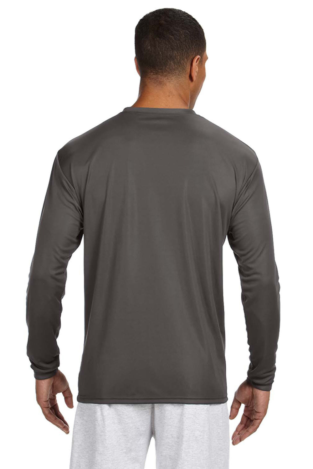 A4 N3165 Mens Cooling Performance Moisture Wicking Long Sleeve Crewneck T-Shirt Graphite Grey Back