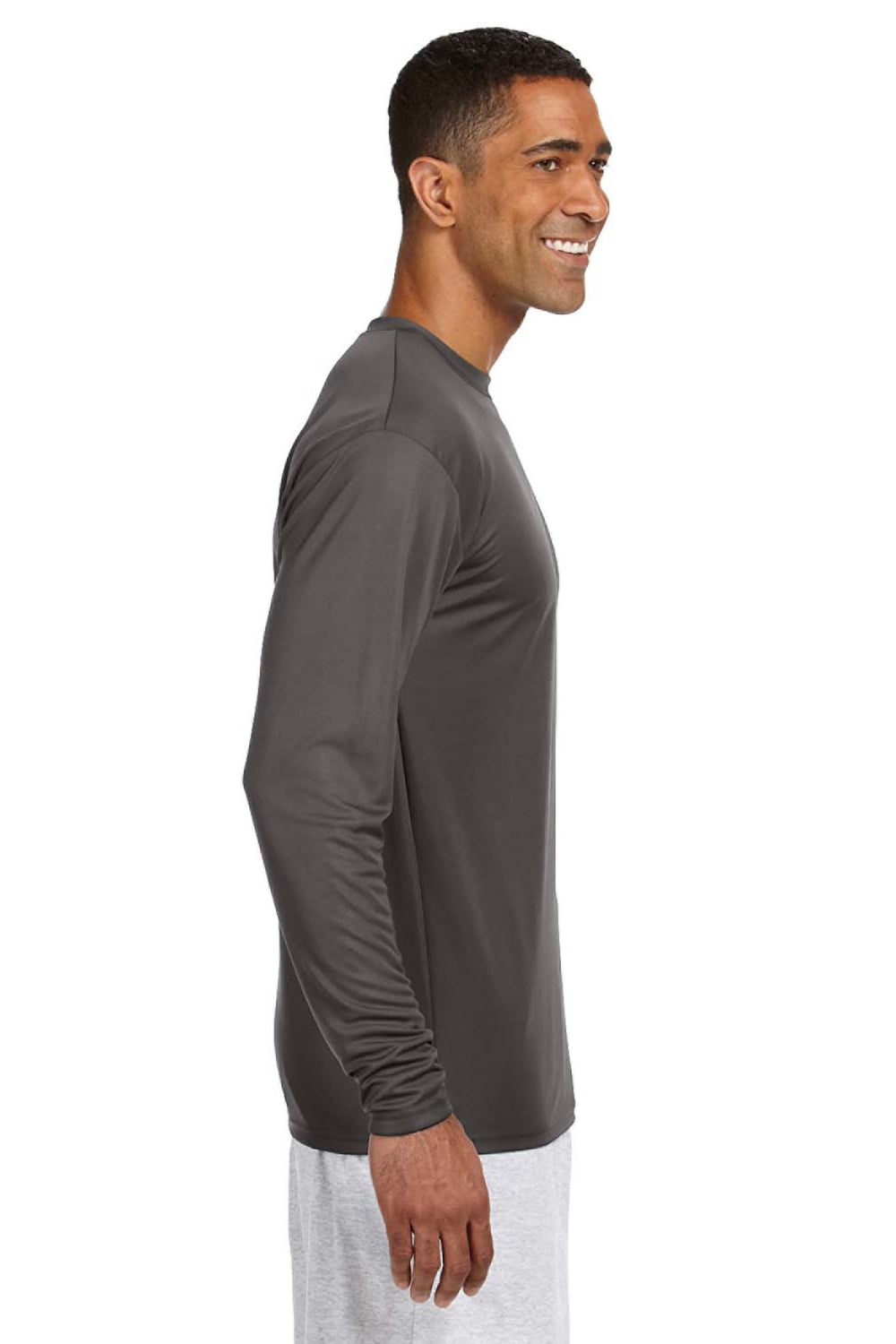 A4 N3165 Mens Cooling Performance Moisture Wicking Long Sleeve Crewneck T-Shirt Graphite Grey Side