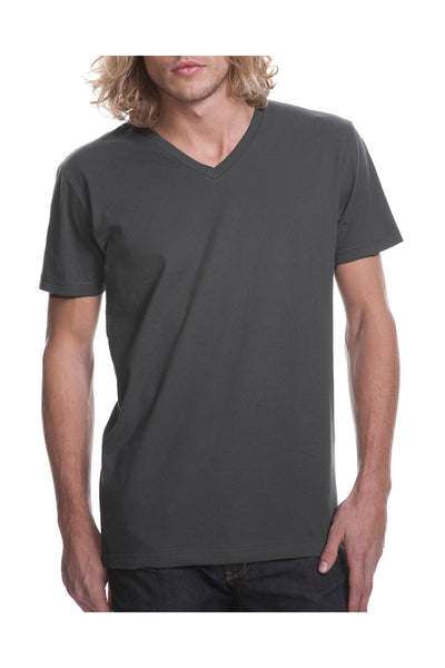 Next Level N3200 Mens Fine Jersey Short Sleeve V-Neck T-Shirt Heavy Metal Grey Front