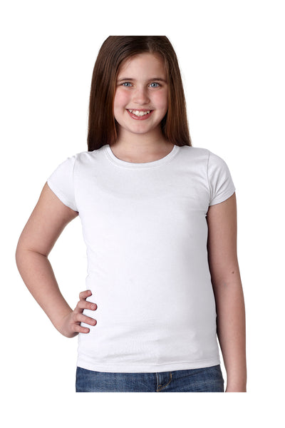 Next Level N3710 Youth Princess Fine Jersey Short Sleeve Crewneck T-Shirt White Front
