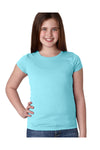 Next Level N3710 Youth Princess Fine Jersey Short Sleeve Crewneck T-Shirt Cancun Blue Front