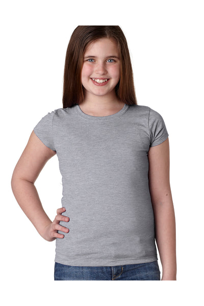 Next Level N3710 Youth Princess Fine Jersey Short Sleeve Crewneck T-Shirt Heather Grey Front