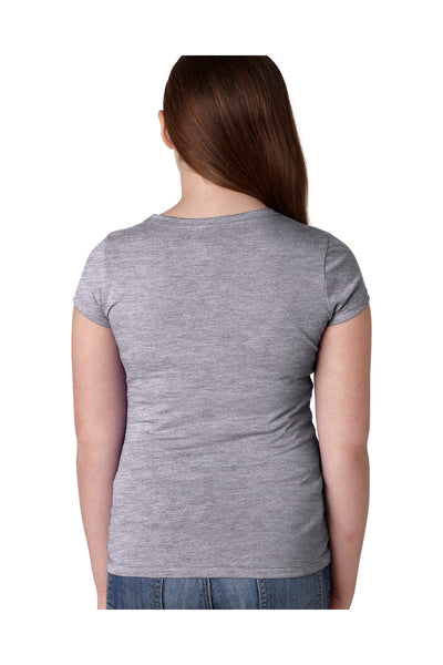 Next Level N3710 Youth Princess Fine Jersey Short Sleeve Crewneck T-Shirt Heather Grey Back