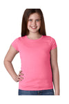 Next Level N3710 Youth Princess Fine Jersey Short Sleeve Crewneck T-Shirt Hot Pink Front