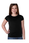 Next Level N3710 Youth Princess Fine Jersey Short Sleeve Crewneck T-Shirt Black Front