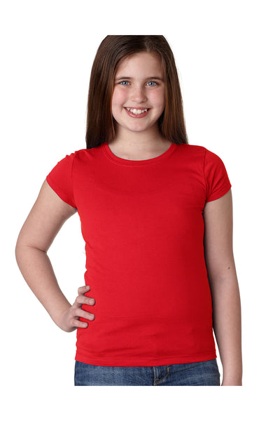 Next Level N3710 Youth Princess Fine Jersey Short Sleeve Crewneck T-Shirt Red Front