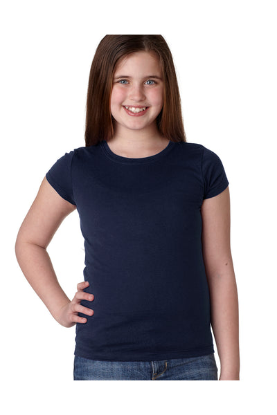Next Level N3710 Youth Princess Fine Jersey Short Sleeve Crewneck T-Shirt Navy Blue Front