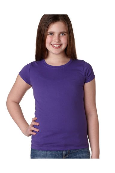 Next Level N3710 Youth Princess Fine Jersey Short Sleeve Crewneck T-Shirt Purple Rush Front