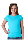Next Level N3710 Youth Princess Fine Jersey Short Sleeve Crewneck T-Shirt Tahiti Blue Front
