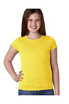 Next Level N3710 Youth Princess Fine Jersey Short Sleeve Crewneck T-Shirt Vibrant Yellow Front